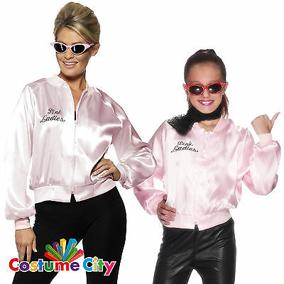 Womens Girls Official Pink Ladies Jacket 1950s 50s Grease Fancy Dress Costume