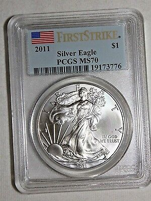 2011 FLAG FIRST STRIKE LABEL American Silver Eagle PCGS MS70