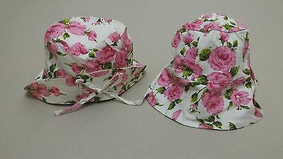JellyBeans PINK ROSES FLOWERS front folded Bucket Hat Cotton Kid Toddler Girl