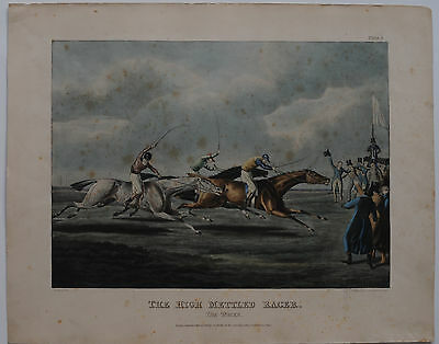 Pferderennen The high mettled Racer Farblithographie H Alken 1821 Horse Racing