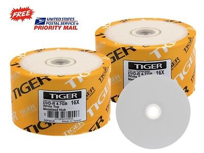 100-PK Tiger Brand 16X White Top DVD-R Blank Disc 4.7GB FREE EXPEDITED SHIPPING