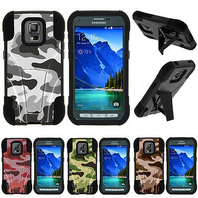 For Samsung Galaxy S5 Active| Hybrid Hard Bumper Stand Case Colored Camouflage