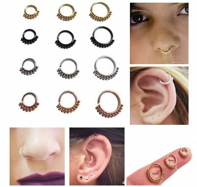 Stainless Steel 6,8,10Mm Cartilage Earring Tragus Septum Nose Ring Hoop Studs