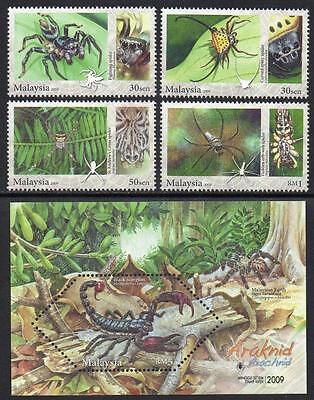 MALAYSIA MNH 2009 Spiders Stamps + Minisheet