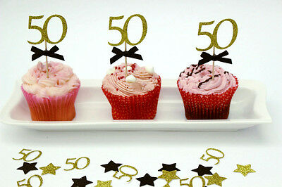 50th Birthday Cupcake Toppers Party Accessories - Fifty Party Decorations x10