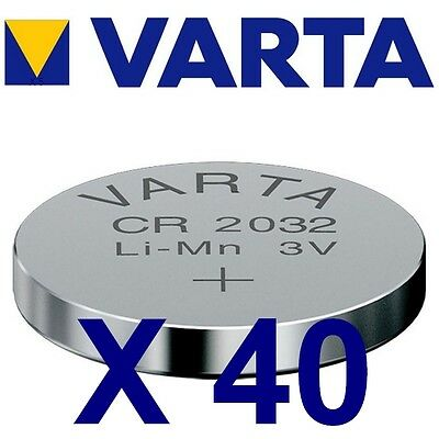 Lot de 40 piles CR2032 VARTA Lithium 3 Volts 230 mah neuves