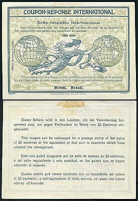 Brazil Early Reply Paid Coupon Irc Unissued Unfranked