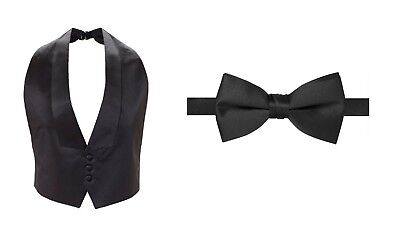 New Mens Black Satin Tuxedo Vest Bow Tie Fit All Low Cut 3 BUTTON FREE SHIPPING!