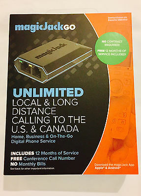 MagicJack Go VoIP (Latest Model) 12 Months FREE Service - Brand New - Ships FREE