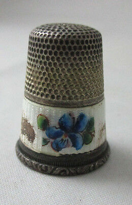 Antique  Enamel Floral Sterling Thimble