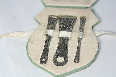 Rare Antique c1900's~~STERLING SILVER BODKIN / Ribbon THREADER SET~~