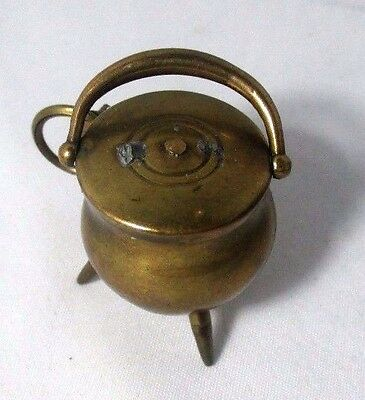 Tripod CAULDRON w/ HANDLE & COVER Tape Measure  c1890  Original ANTIQUE