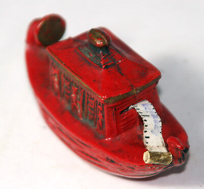 ANTIQUE~~RED GONDOLA Tape Measure BOAT~~CELLULOID,Figural,NOVELTY-MADEIN GERMANY