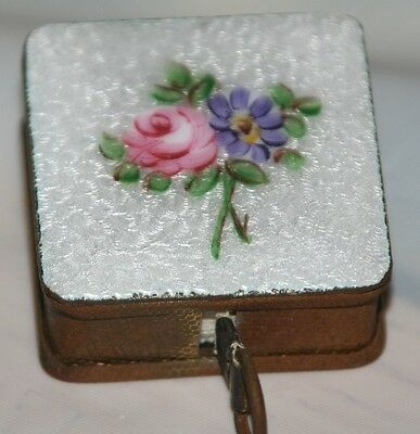 EXTREMELY RaRe  BRASS~SQUARE ENAMEL FLORAL TAPE MEASURE~NOVELTY