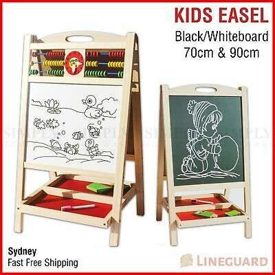 Kids Easel Art Childrens Whiteboard Blackboard Stand Wood Magnetic Drawing Board
