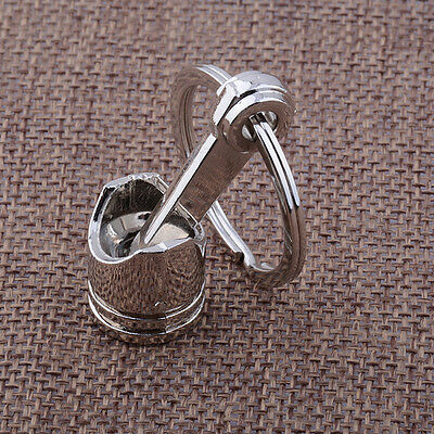 Auto Car Vehicle Engine Silver Metal Piston Model Alloy Keychain Keyring Keyfob