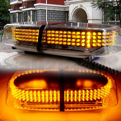 UK 12V Amber 240 LED Vehicle Roof Lightbar Flashing Beacon Strobe Light Magnetic