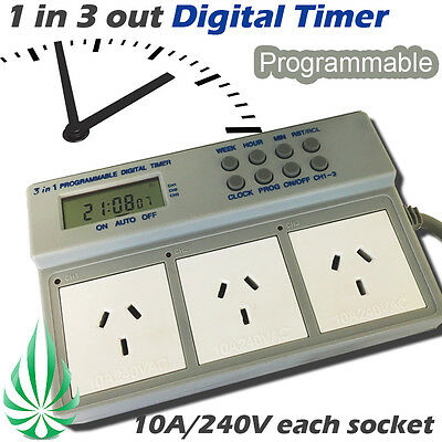 1 in 3 Out Programmable Digital Timer Box Fo Aquarium Pump Grow Light Fans 3600W