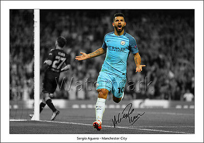 Sergio Aguero Signed Print Poster Photo Squad 2016 2017 Manchester Man City