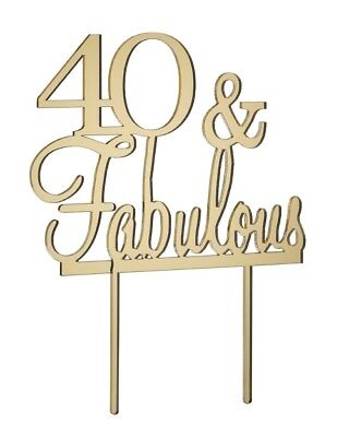 40 & Fabulous Cake Topper - Mirror Gold - Acrylic