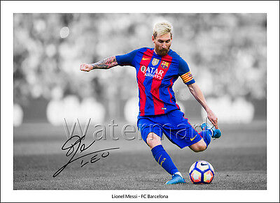 Lionel Messi Signed Print Poster Photo Squad 2016 2017 Fc Barcelona Wall Art