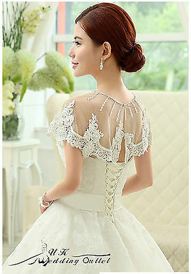 Bridal luxury wedding lace shrug wrap shawl jacket with bead one size white