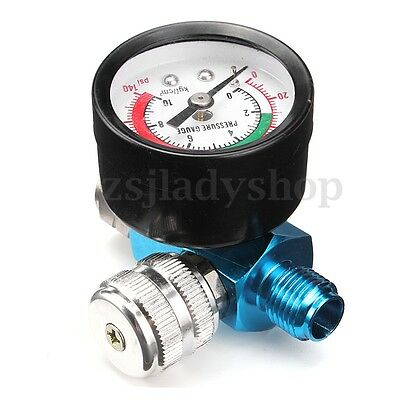 "1/4"" BSP Threads Mini Air Regulator Valve Gun Tail Pressure Gauge For Spray Gun"