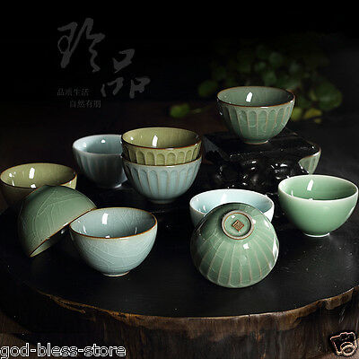 Chinese porcelain crackle glaze tea cup longquan celadon cup ceramic cup of tea