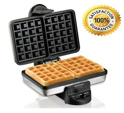 Waffle Maker Belgian Style Irons Double Kitchen Toaster Stainless Hamilton Beach