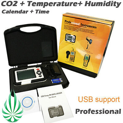 Grow Tent Carbon Dioxide CO2 Humidity Air Temperature Data Logger Meter Monitor