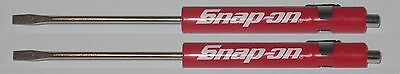 (2) TWO Snap on Pocket Screwdriver, Flat Tip Screwdrivers, RED ~ Magnetic .NEW.