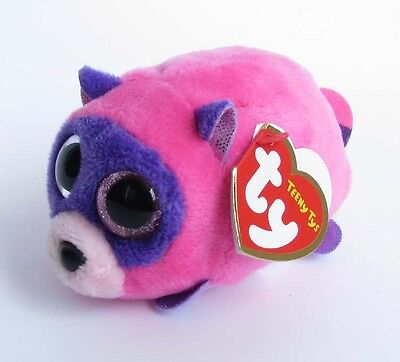 "4"" TY Teeny Tys Rugger Raccoon Beanie Babies Mini Stuffed Toys Stackable SJ111"