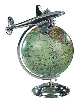 AUTHENTIC MODELS On Top Of The World Flight Airplane Aviation & World Globe