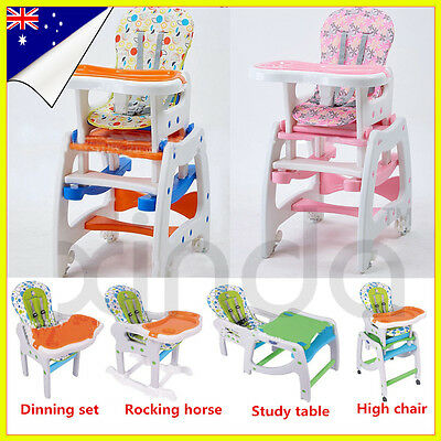 Adjustable Baby High Chair Dinning Set Design 4 in 1 Study Table Rocking Horse