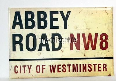 "ABBEY ROAD SIGN Fridge MAGNET  2"" x 3"" art NOSTALGIC vintage"