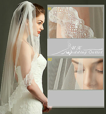 Beautiful lace Bridal wedding 1 tier soft lace veil ivory with comb crystal