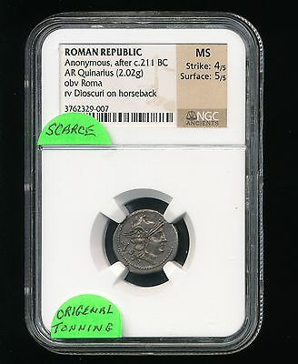 NGC MS Roman Republic Anonymous After c.211 BC AR Quinarius Obv Roma Dioscuri