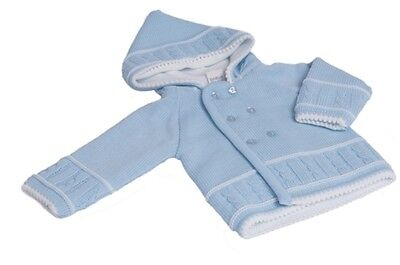 Baby Boys Blue Knitted  Hooded jacket