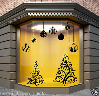 Christmas Window Sticker Xmas Tree Wall Stickers Xmas Shop Baubles Decals  N6