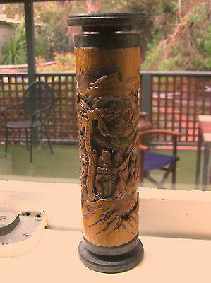 Antique Chinese Carved Bamboo Incense Holder