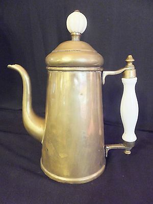 Vintage Brass With Ceramic Handles Coffee Pot Kettle