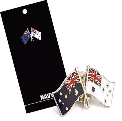Australian Flag & Ensign Lapel Pin On Card - Royal Australian Navy RAN