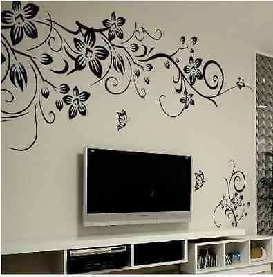 DIY Decor Black Flowers Removable Wall Stickers Wall Decals Mural Home Art