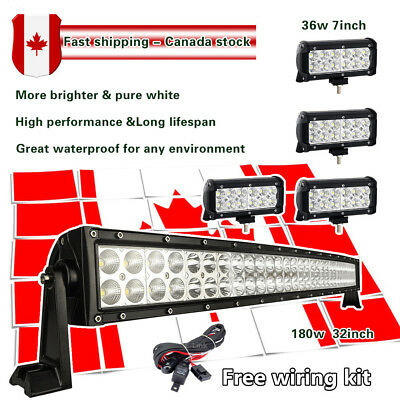 32 inch Curved LED Light bar + 2x 7inch Pods LED Work Light Bar Offroad Truck 30
