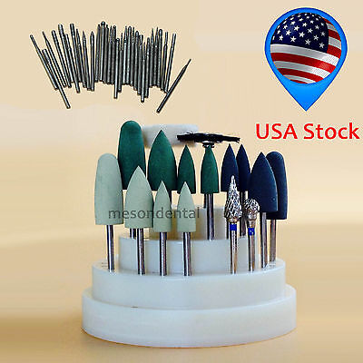 47Pcs Dental Lab Silicone Rubber Rotary Tungsten steel Polishing Burs 2.35mm Bur