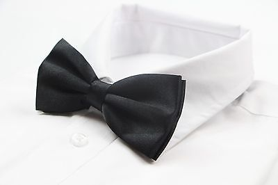 Black Plain Solid Bow Tie Mens Pre-Tied Bowtie Ties Formal Wedding Party Formal