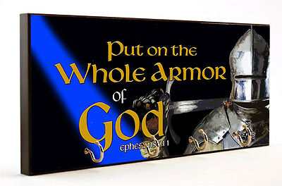 Put On The Whole Armor of God Blue Line Design Key Hanger with Car Coaster