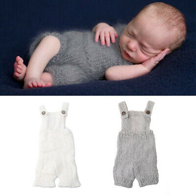 Newborn Baby Infant Knitted Mohair Overalls Rompers Photography Props Outfits