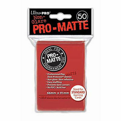 50 ULTRA PRO Pro-Matte Deck Protector Card Sleeves Magic Standard 82650 Red