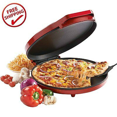 Pizza Maker Baking Nonstick Easy Oven Kitchen Fast Bake Cookies Crispy Red NEW